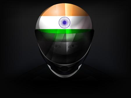 racer flag: Indian racer with flag on helmet vector closeup illustration Illustration
