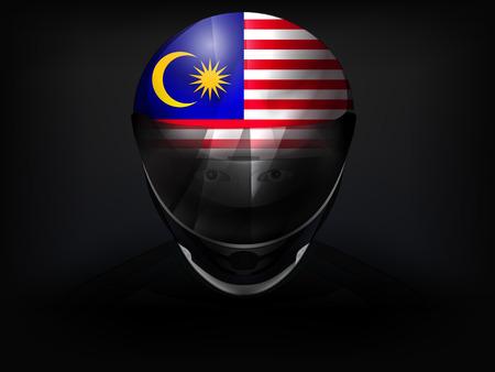 racer flag: Malaysia racer with flag on helmet vector closeup illustration