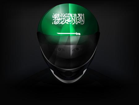 racer flag: Saudi Arabian racer with flag on helmet vector closeup illustration Illustration