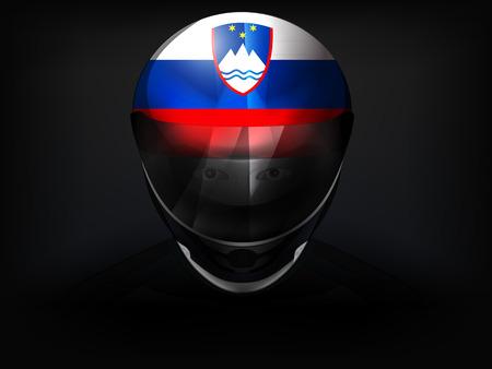 slovenian: Slovenian racer with flag on helmet vector closeup illustration