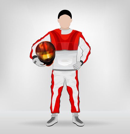 standing racer holding helmet with hand on waist vector illustration