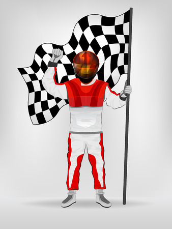 racer flag: racer in helmet holding checked flag with hand up vector illustration