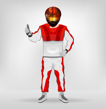 standing racer in helmet with hands on waist vector illustration Vector