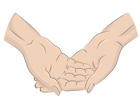 aislados dos manos humanas a través de la ilustración vectorial