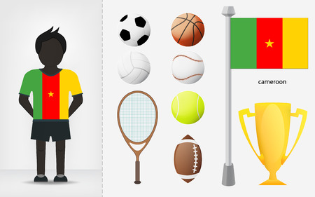 cameroonian: Cameroonian sportsman with sport equipment collection vector illustrations