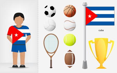 cubana: Deportista cubano con ilustraciones de recogida de material deportivo vector Vectores