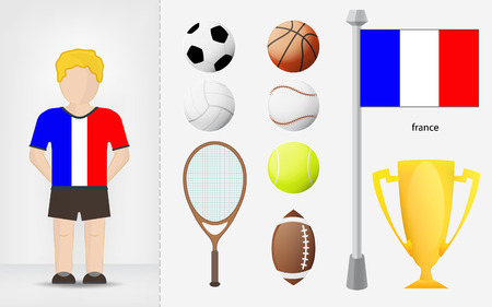 French sportsman with sport equipment collection vector illustrations Vector