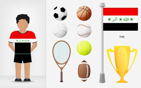 iraqi: Iraqi sportsman with sport equipment collection vector illustrations Illustration