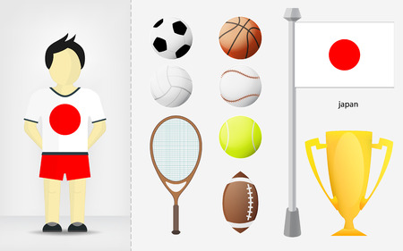 Japanese sportsman with sport equipment collection vector illustrations Vector