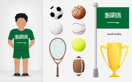 Saudi Arabian sportsman with sport equipment collection vector illustrations Vector