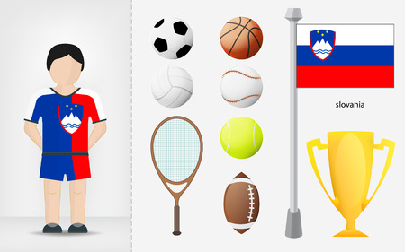 slovenian: Slovenian sportsman with sport equipment collection vector illustrations