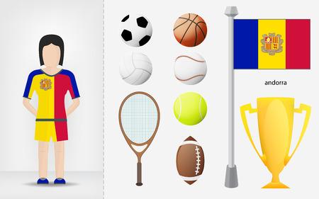 sportswoman: Andorran sportswoman with sport equipment collection vector illustrations Illustration