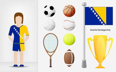 bosnian: Bosnian sportswoman with sport equipment collection vector illustrations Illustration
