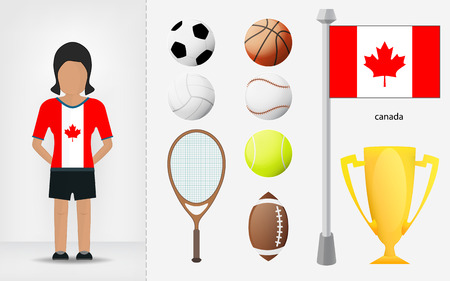 sportswoman: Canadian sportswoman with sport equipment collection vector illustrations