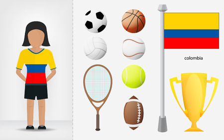 sportswoman: Colombian sportswoman with sport equipment collection illustrations