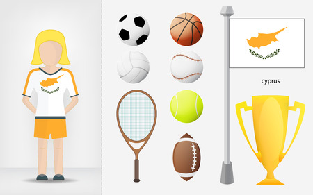 sportswoman: Cyprian sportswoman with sport equipment collection illustrations