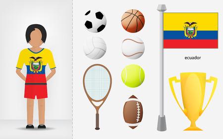 sportswoman: Ecuadorian sportswoman with sport equipment collection illustrations