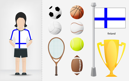 Finnish sportswoman with sport equipment collection illustrations Vector