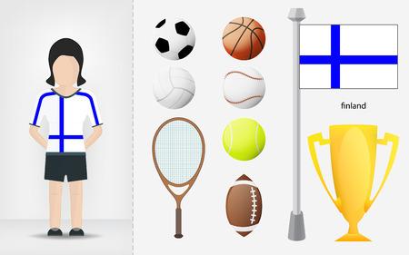 finnish: Finnish sportswoman with sport equipment collection illustrations