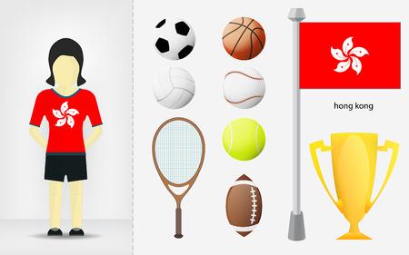 sportswoman: Hong Kong sportswoman with sport equipment collection illustrations Illustration