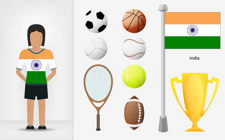 sportswoman: Indian sportswoman with sport equipment collection  illustrations