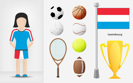 sportswoman: Luxembourg sportswoman with sport equipment collection illustrations