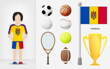 sportswoman: Moldavian sportswoman with sport equipment collection illustrations Illustration