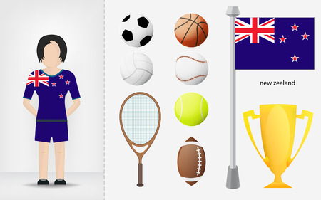 sportswoman: New Zealand sportswoman with sport equipment collection illustrations Illustration