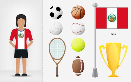 sportswoman: Peruvian sportswoman with sport equipment collection illustrations