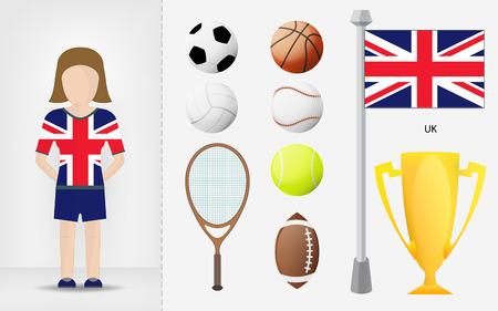 sportswoman: British sportswoman with sport equipment collection illustrations Illustration