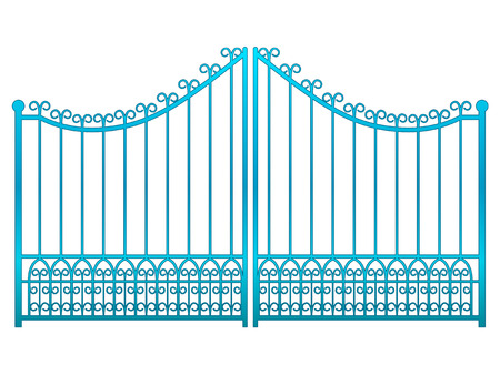 isolated closed blue iron gate fence vector illustration Vector