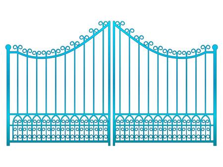 baroque gate: isolated closed blue iron gate fence vector illustration Illustration