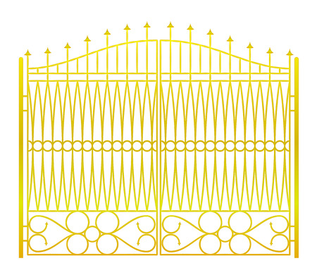 baroque gate: isolated on white closed golden gate fence vector illustration