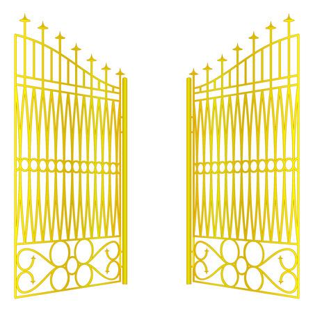 geïsoleerde geopend golden gate hek op wit vector illustration