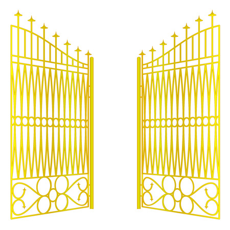 isolated open golden gate fence on white vector illustration Vector