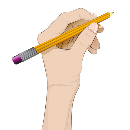 isolated human hand holding pencil vector illustration Vector