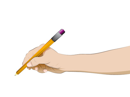 isolated human hand side view holding pencil vector illustration Vector