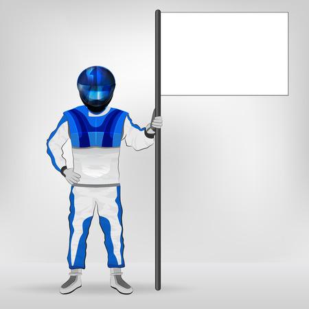 racer flag: blue overall standing racer holding empty flag vector illustration