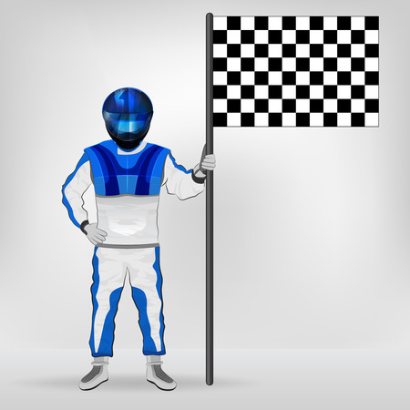 checked flag: blue overall standing racer holding checked flag vector illustration
