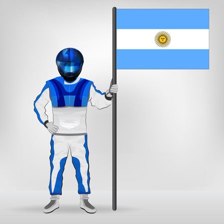 argentine: standing racer holding Argentine flag vector illustration