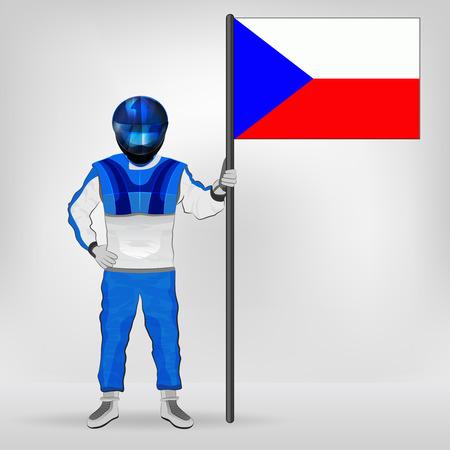 racer flag: standing racer holding Czech flag vector illustration Illustration