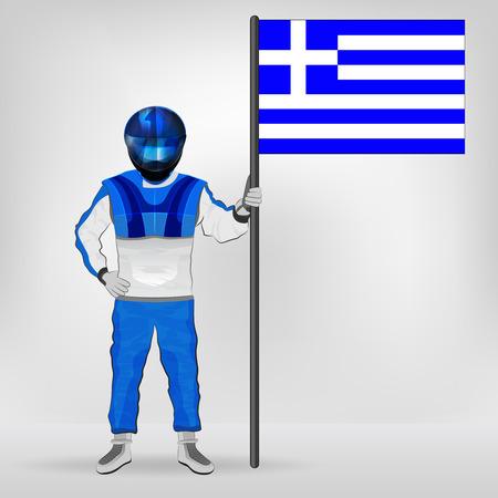 racer flag: standing racer holding Greek flag vector illustration Illustration