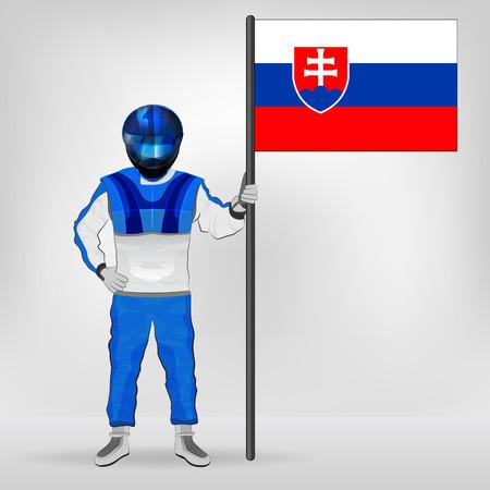 slovakian: standing racer holding Slovakian flag vector illustration
