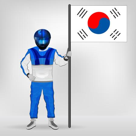 racer flag: standing racer holding South Korean flag vector illustration Illustration