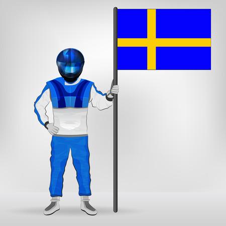 racer flag: standing racer holding Swedish flag vector illustration Illustration