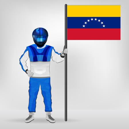 racer flag: standing racer holding Venezuelan flag vector illustration