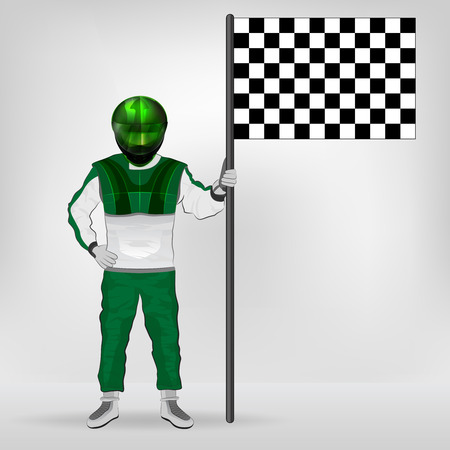 green overall standing racer holding checked flag vector illustration Vector