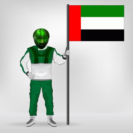 racer flag: standing racer holding Arab Emirates flag vector illustration