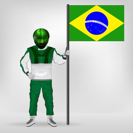 racer flag: standing racer holding Brazilian flag vector illustration Illustration
