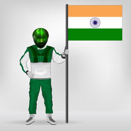 racer flag: standing racer holding Indian flag vector illustration Illustration